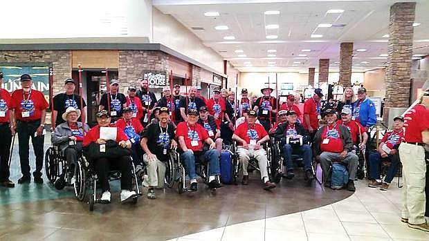 Members of the Honor Flight Nevada who left for Washington, D.C., Friday morning from Reno Tahoe Airport.