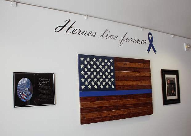 The memorial for Carson City Deputy Carl Howell inside the Carson City Courthouse.