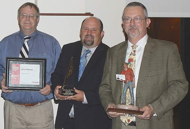 LVN Editor Steve Ranson, left, won his third editorial writing award on Saturday from the International Society of Weekly Newspaper Editors. Roger Harnack, center, editor and publisher of the Omak-Okanogan Chronicle in Omak, Wash., received the top editorial award, the Golden Quill. Mike Buffington, co-owner and publisher of the MainStreet Newspapers in Georgia, was chosen for the Eugene Cervi for journalism excellence.