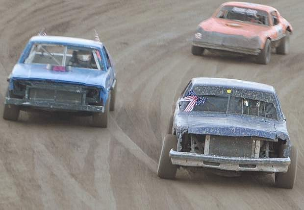 Shayne Robertson, front, leads the pack in the Hobby Stocks during the final day of the Iron Man challenge.