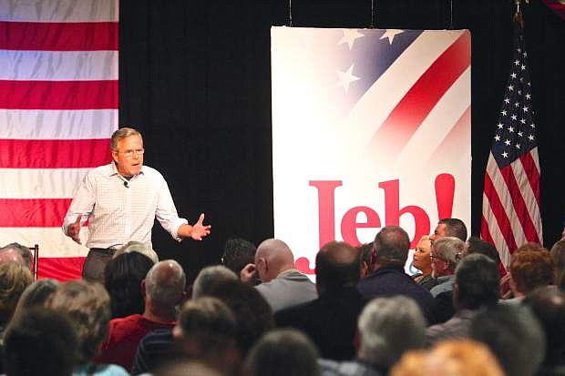 Republican Presidential Candidate Jeb Bush campaigns at a town hall meeting at the Silver State Charter School in Carson City Friday morning.