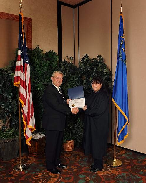 Judge Camille Vecchiarelli, Justice of the Peace, Dayton Township Justice Court, was honored with the 2015 Judge of the Year award, which was presented at the Nevada Judges Limited Jurisdiction seminar in Mesquite.