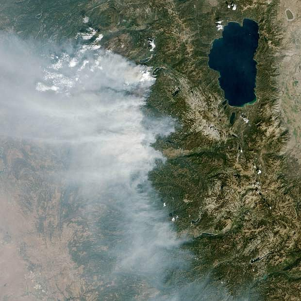 The King Fire near Pollock Pines, Calif., is seen from space. The fire has burned 139 square miles.