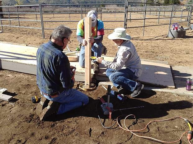 The Kiwanis Club of Sierra Nevada rebuilt the mounting ramp at Sierra Therapeutic Equestrian Program, or STEP, a therapeutic horseback riding center in Washoe Valley. Kiwanis members spent 12 hours renovating the ramp for those with special needs. Shown from the left are Ray Frederick, Ron Bowman and Alan Welch. STEP is extending its help to veterans and their dependents for the upcoming season. To volunteer, contact stepinc@pyramid.net or 775-530-7073.