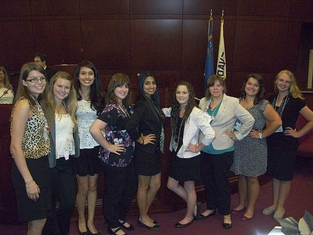 Shown from the left are Girls State Douglas delegates Steph Williams, Leah Heydman, Jocelyn Contreras, Emily Tuggle, Shreya Khosla and Carson delegates Taylor Vizzusi, Genoa Donaldson, Callen Aten and Isabella Favero.