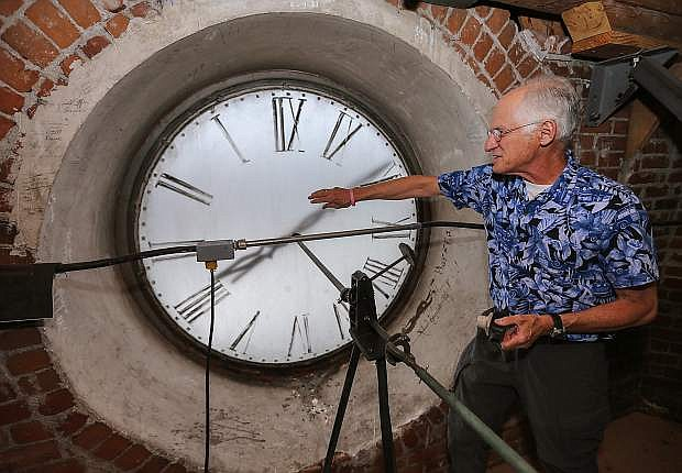 Bob Hartman talks about the clock tower in the Laxalt Building in Carson City, Nev., on Tuesday, June 9, 2015.