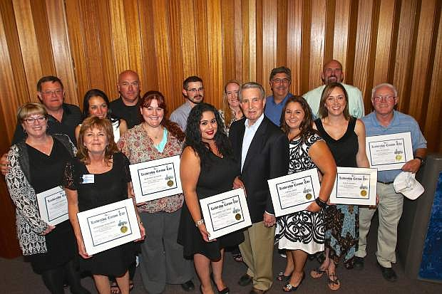 Graduates of the Carson City Chamber's Leadership Institute pose for photo at the conclusion of their ceremony Thursday at the Carson City Library.
