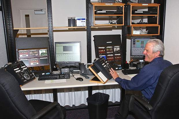 Audio-visual technician Brian Lesters sits in a temporary studio at the legislative building in Carson City on Wednesday.
