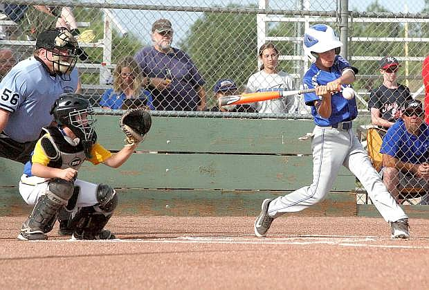 Carson's Eddie Tierney doubles during Wednesday's game at Governor's Field.