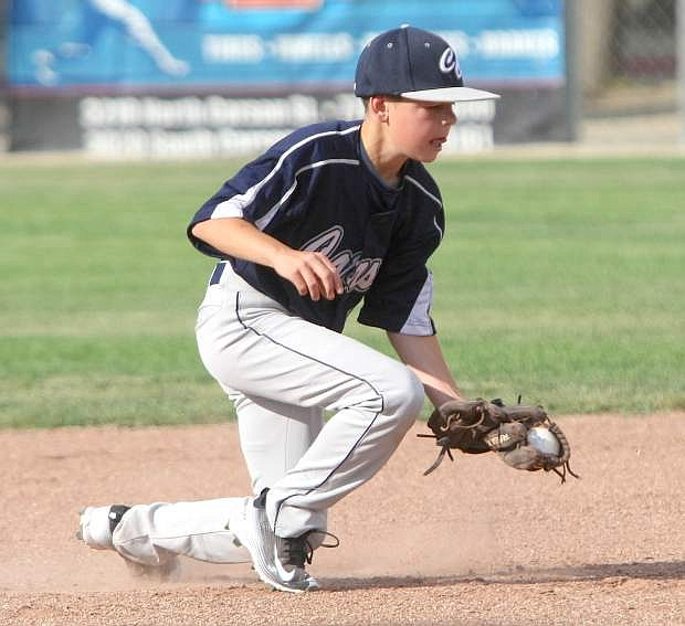 Shortstop Ashton Davenport fields a ground ball in a game against Reno on Tuesday.