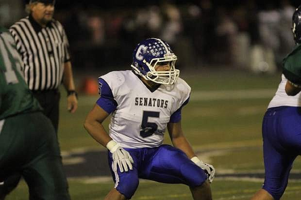 Carson linebacker Gerardo Lobato in action against Damonte Ranch October 3rd.