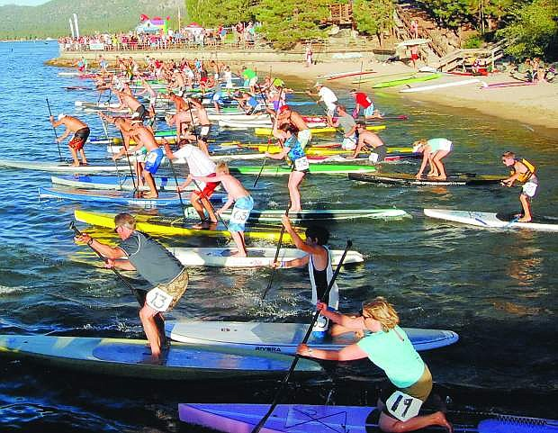 Stand-up paddleboarding is becoming increasingly popular at Lake Tahoe, evidenced by the number of races held across the area, as well as recreatioinal paddlers.
