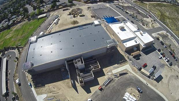 An aerial view of the Multi-purpose Athletic Center (MAC) shows construction progress Thursday afternoon in Carson.