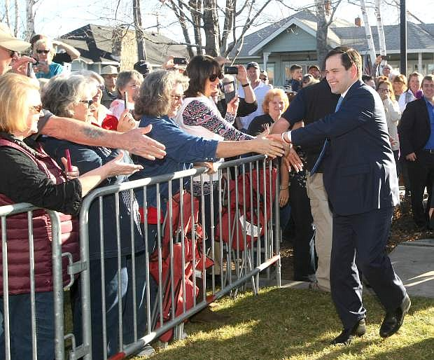 Florida Sen. Marco Rubio greets his supporters during a campaign stop at Minden Park in Carson Vallley on Monday afternoon.