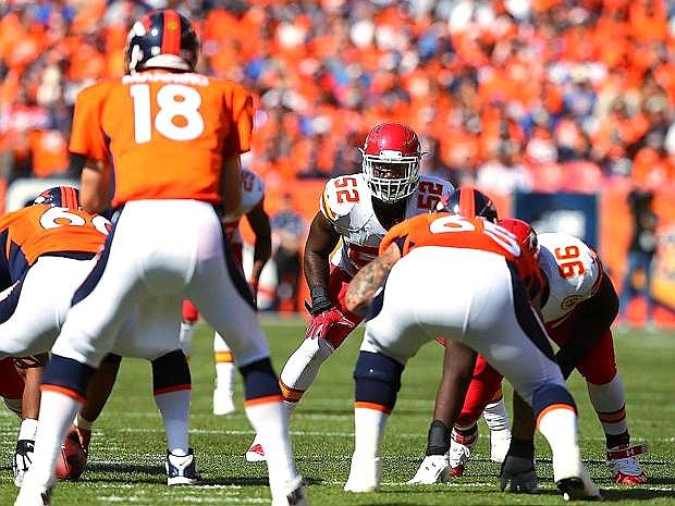 Kansas City and former Nevada linebacker James-Michael Johnson lines up during the Chiefs' 24-17 loss at Denver on Sunday.