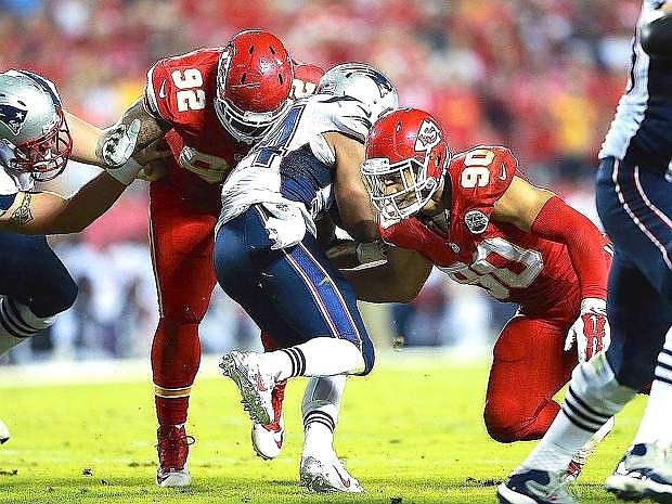 Kansas City linebacker Josh Mauga makes a tackle during a game earlier this season. The Chiefs beat San Diego, 23-20, on Sunday.