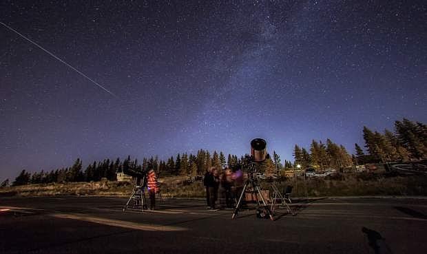 A Perseid meteor streaks across the sky during Tahoe Star Tours' Dark Skies Cosmoarium at Northstar last year.