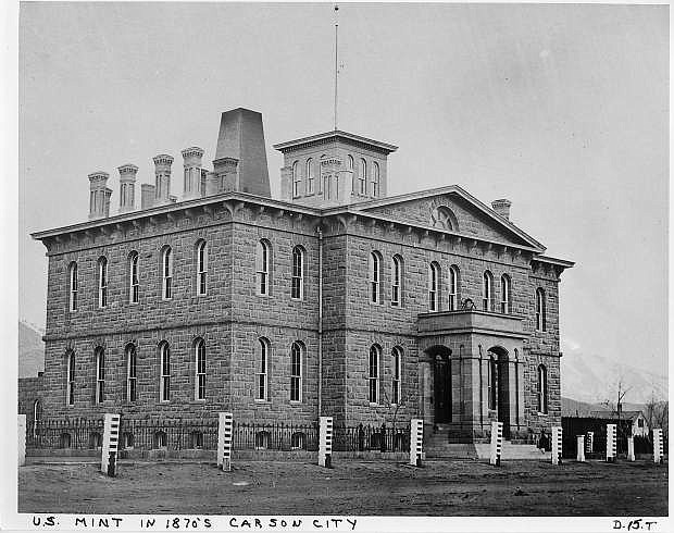 The U.S. Mint in Carson City in about 1875. The building at 600 N. Carson St., built under the supervision of Abraham Curry, now serves as the Nevada State Museum.