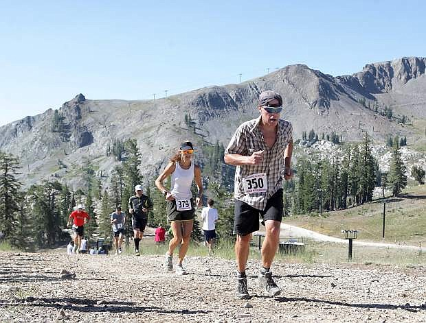 Rick Reynolds of Truckee nears the finish line in the 33rd annual Squaw Mountain Run on Saturday.
