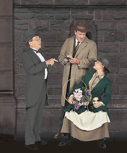 Eliza Doolittle (Hannah Eckert) sells flowers to Colonel Pickering, left, (Michael Peters) and Henry Higgins (Kirk Gardner).