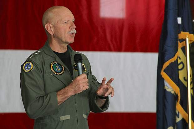 Adm. Scott Swift, commander of U.S. Pacific Fleet, speaks to Sailors during an all-hands call at Naval Air Station Fallon.