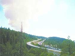 Nik Dirga/Sierra SunA plume of smoke towered over Interstate 80 Sunday afternoon about 4 p.m. in the early hours of the Gap Fire.