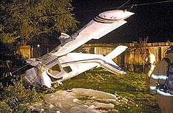 Brian CorleyThis plane came to rest in a back yard on Apollo Street in Carson City on Saturday night. Three people were hurt.