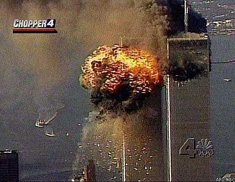 NBC photo via Associated PressSmoke and fire surround the upper floors of the World Trade Center in New York City, Tuesday, Sept. 11, 2001, in this image from television, after a second plane crashed into the building. Planes crashed into the upper floors of both World Trade Center towers minutes apart Tuesday in a horrific scene of explosions and fires that left gaping holes in the 110-story buildings.