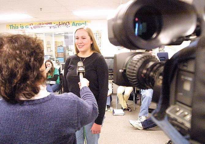 Cathleen AllisonChannel 4 reporter Victoria Campbell interviewed Carson High School Junior Kate Keller, 17, on Monday morning. Campbell helped students prepare for their role as affiliates for CNN's student bureau.