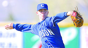 Carson High School pitcher Ray Henry throws in Monday afternoon's game against Lassen High School.