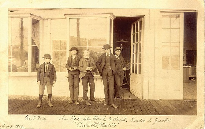 From left, George T. Davis, Charles Piper, Selig Olcovich, Isaac Olcovich and Isador A. Jacobs outside the Carson Weekly newspaper office the Olcovich boys began at ages 10 and 12.