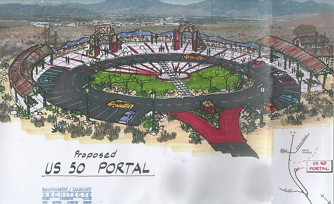 The entrance to Carson City on Highway 50 East could be enhanced by a portal such as the one in this artist's concept. The portal rest stop includes historical elements, such as the stone arches saved from the old V&T Railway yard, and information about Carson City.