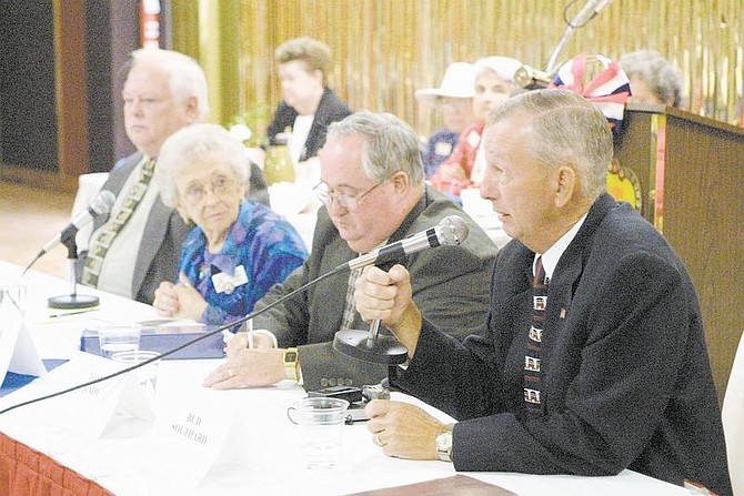 Assembly District 38 Republican candidate Bob Southard talks Tuesday to members of the Carson City Republican Women's Club. Seated left to right are Supervisor Pete Livermore, moderator Rosemary Smith and District 38 candidate Tom Grady. Photo by Cathleen Allison