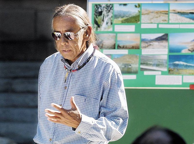 Cathleen AllisonTribal coordinator Ray Hoferer speaks at a press conference at the Capitol on Tuesday. The press conference was called by a group trying to preserve Walker Lake. The lake advocates warned of litigation unless authorities get more water to the dying desert lake.