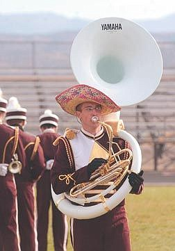 Photo by Brian CorleyBobby Seely, from Sparks High School, wears a sombrero during a the Silver State Capital City Band Festival at Carson High School Friday.