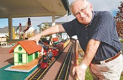 Rick GunnJohn Amantea shows his model train set in front of his house at 2162 Courtside Circle. He is prepared for nearly 1,000 children to trick-or-treat -- and check out his trains -- tonight.