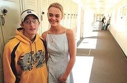 Photo by Rick Gunn.Jolynne Elbert and Carlene Barney, both 16 and students at Pioneer High School, spoke to fellow students about question 2 on this year's ballot. The two are engaged to be married.