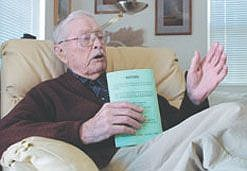 Cathleen AllisonReuben Law, 104, has voted in every election since 1918. He sent an absentee ballot from France that year. Law uses his his sample ballot to help him remember his choices. Law has passed along his strong sense of civic duty to his four children and 11 grand children.