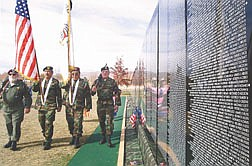 From left, Fred Walliser, Rudy Colderon, Griz Hilpert and Bob White represented the Native Americans who served in the Vietnam War during a ceremony on Wednesday morning at the Rancho San Rafael Park.  The Moving Wall, a replica of the Washington D.C. memorial will be in Reno through Veterans Day.