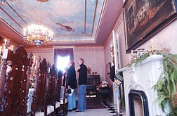 The main draw of the Bliss Mansion was the Dining room with its fire place and sky painted ceiling. The Bliss Mansion has nine fire places with one in each of the five guest rooms of the bed and breakfast. Photo by Brian Corley