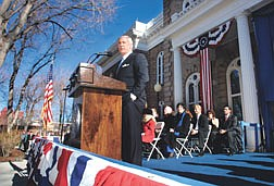 Nev. Gov. Kenny Guinn speaks to a crowd of about 450 people after he was sworn in for a second four-year term on Monday morning, Jan. 6, 2003 in Carson City, Nev.