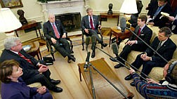 President Bush, delivers remarks to members of the media, as he and Vice President Dick Cheney  prepare to brief congressional leaders on the war in Iraq during there meeting in the Oval Office of the White House, Friday, March 21, 2003 in Washington. With Bush are  House Minority Leader Rep. Nancy Pelosi, D-Calif., left, Speaker of the House of Representatives Dennis Hastert, R-Ill., second from left, Senate Majority Leader Sen. Bill Frist, R-Tenn. and Senate Minority Leader Sen. Tom Daschle, D-S.D., right. (AP Photo/Pablo Martinez Monsivais)