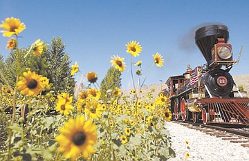 Lee Hobo guides the Inyo Locomotive around the Nevada State Railroad Museum Saturday afternoon.