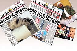 Staff and AP photosHeadlines from Sept. 11, 2001, left, and the beginning of the war in Iraq on March 20 along with a photo of Osama bin Laden and the Appeal's 'War in Iraq' logo.