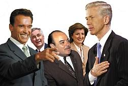 Associated PressSome of California's gubernatorial candidates from left, actor Arnold Schwarzenegger, California State Sen. Tom McClintock, Lt. Gov. Cruz Bustamante, columnist Arianna Huffington, and Gov. Gray Davis.