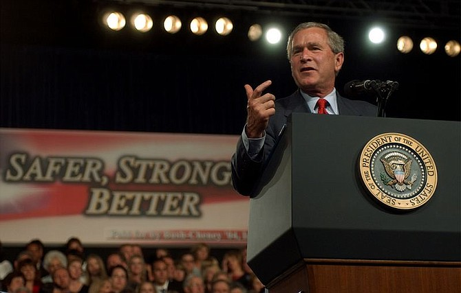 President Bush speaks at a campaing rally at the Reno-Sparks Convention Center in Reno, Nev., Friday, June 18, 2004. (AP Photo/Susan Walsh)