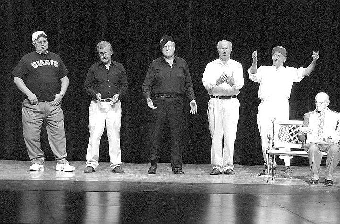 "BRAD HORN/Nevada Appeal Linwood Gallagher, from right, performs ""School Days"" with the mens chorus, from right, Joe Dietsch, Bob Savage, Bill Paradis, Frank Taylor and Jon Shambaugh, during the Senior Follies at the Carson City Community Center Sunday afternoon."
