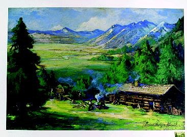 """""""Genoa,"""" a lithograph by late Carson City artist Hans Meyer Kassel, shows the Carson Valley with a blue Jobs Peak looming above it."""