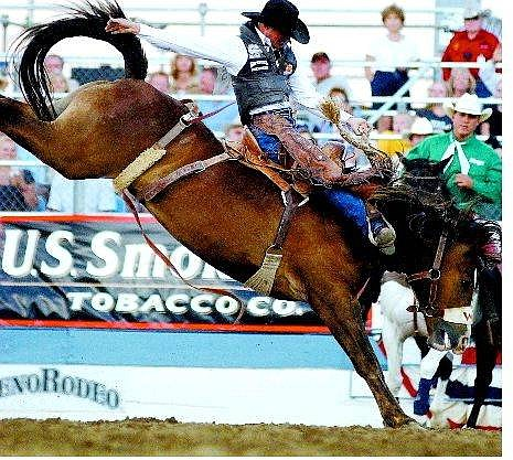 BRAD HORN/Nevada Appeal Matt Marvel, of Battle Mountain, rides to an 80 in the saddle bronc riding competition at the Reno Rodeo.
