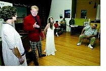 Cathleen Allison/Nevada Appeal The newly formed Misfits Theater Group rehearses 'The Love Child' at Mia's Swiss Restaurant in Dayton Tuesday night. Director Tony Thornburg, right, runs through a dress rehearsal with, Karen Brinkoetter, left, Mark Grzebyk, and Robyn Mazy.